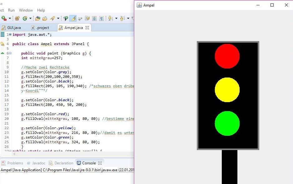 Eine Ampel mit Java programmiert