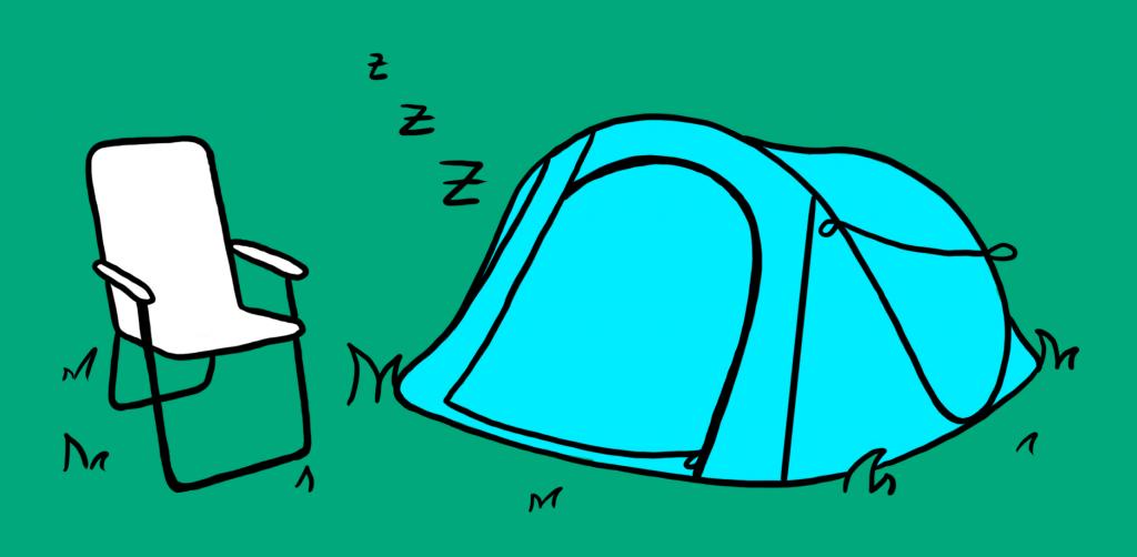 Zelt und Campingstuhl