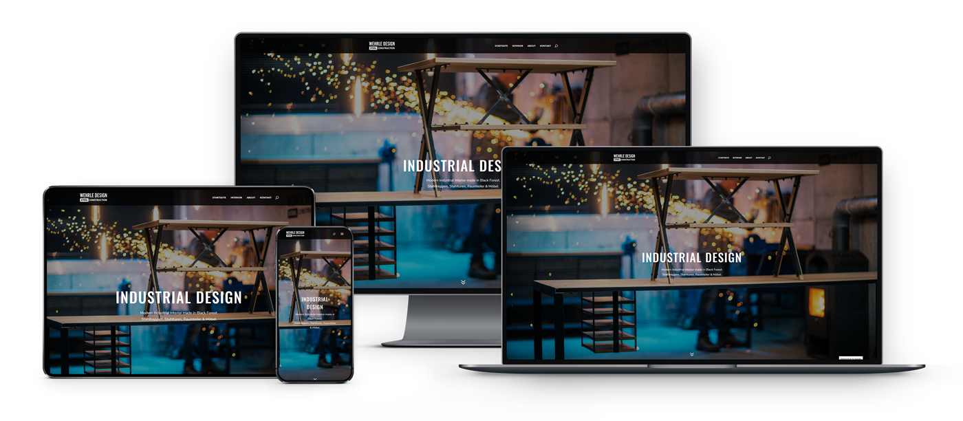 Website von Wehrle Design - Responsive Views - Teil der Digital Content-Produktion